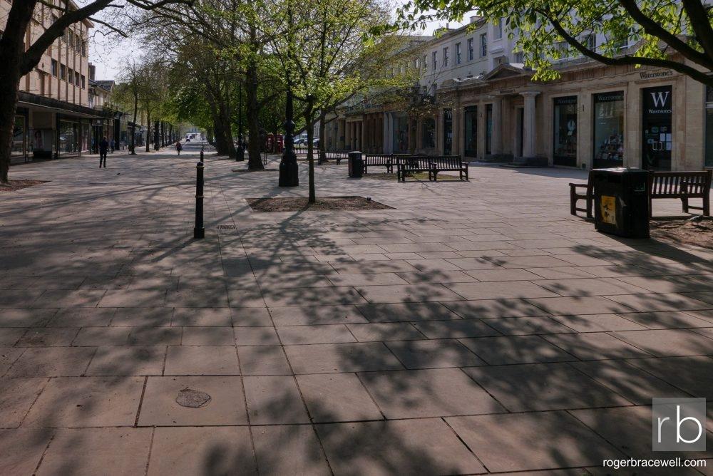 Dappled sunlight on the Promenade | Cheltenham | April 2020